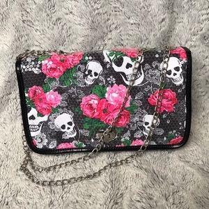 Betsey Johnson Skull and Roses Purse / Bag